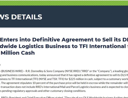 RRD Enters into Definitive Agreement to Sell its DLS Worldwide Logistics Business to TFI International